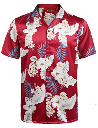 9830b435 Indove Mens Satin Floral T Shirts Hawaiian Style Short Sleeve Summer Casual  Button Down: Amazon.in: Clothing & Accessories
