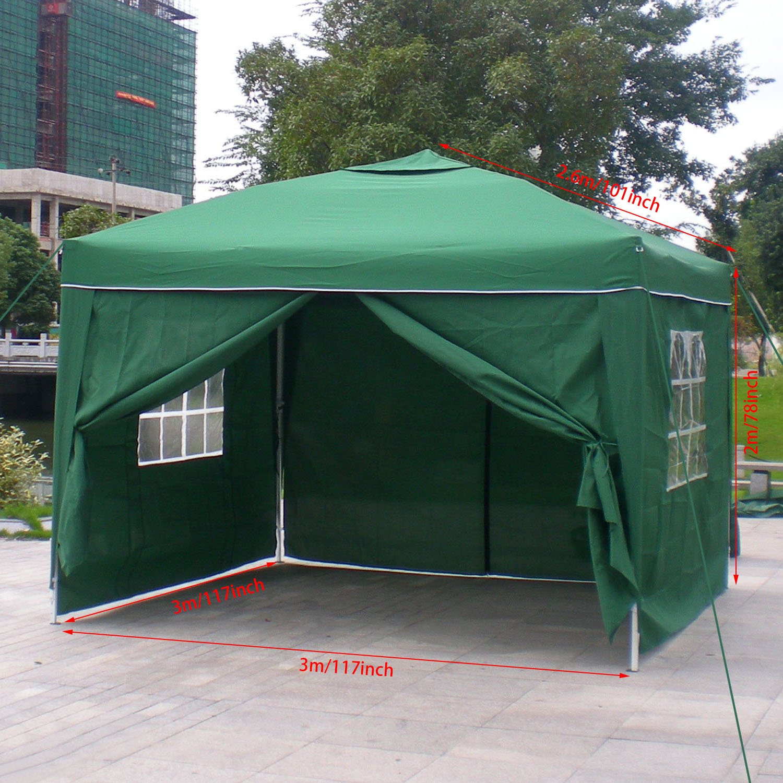 Homdox Tienda Pabellón Carpa 3M*3M con Paredes Laterales y Ventanas Plegables para Fiestas, Eventos, Boda,en Jardín o al Aire Libre,Verde