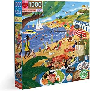 eeBoo's Piece and Love Beach Umbrellas 1000 Piece Square Adult Jigsaw Puzzle
