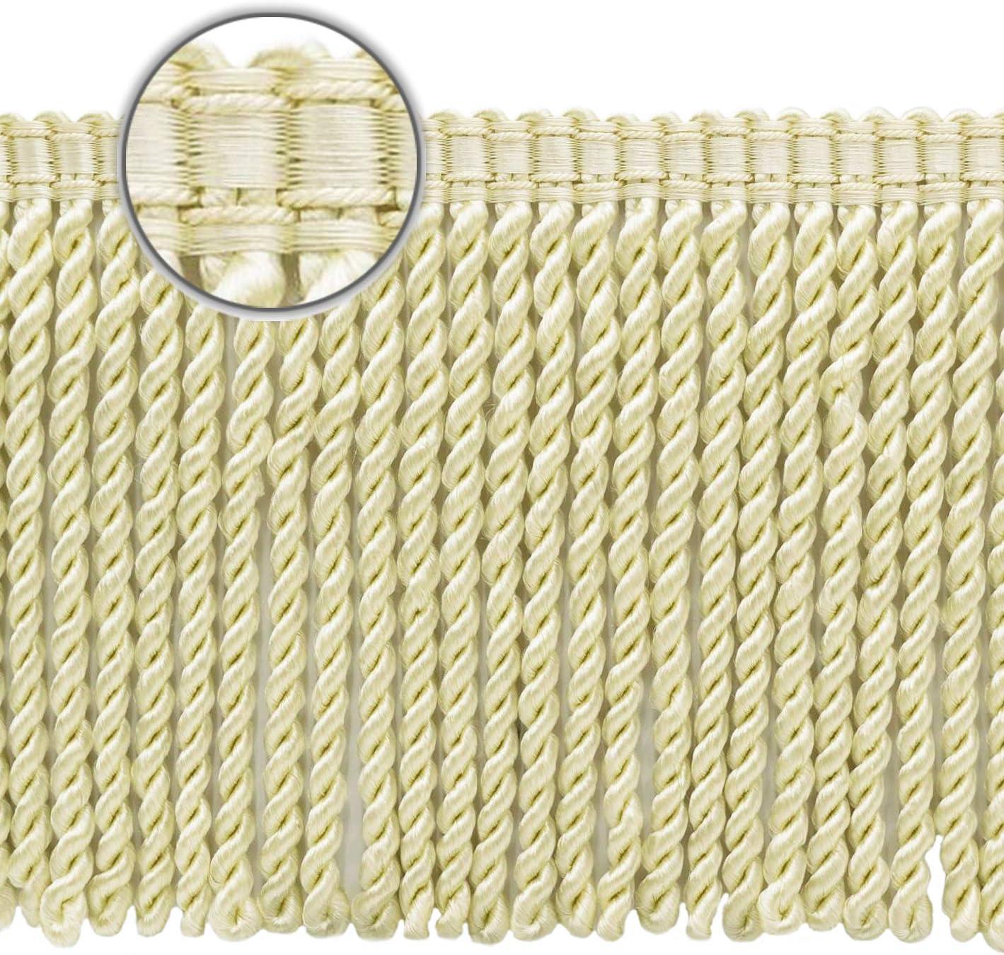 Basic Trim Collection 6 inch Long 7837 Color: A2 5 Yard Value Pack Style# BFS6-WVN 15 Ft // 4.5 Meters Ivory//Ecru Bullion Fringe Trim with Decorative Gimp Design Premium Quality