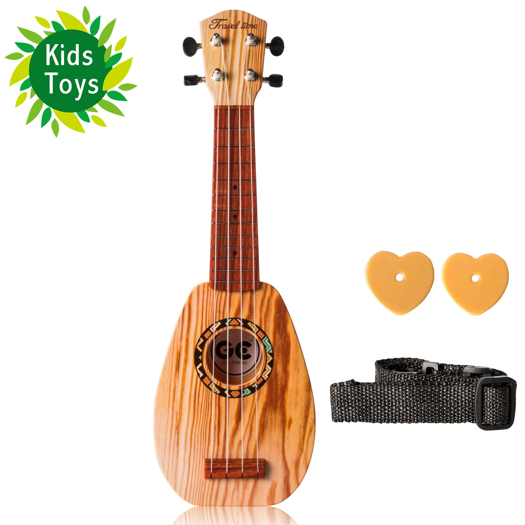 Soprano Ukulele 17-inch Acoustic Toy Guitar for Kids With the Picks, Strap and in wood Color by UKUALAA
