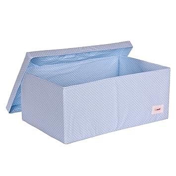 Minene Large Storage Box with Lid Blue with White Dots - storage box large fabric  sc 1 st  Amazon UK & Minene Large Storage Box with Lid Blue with White Dots - storage box ...