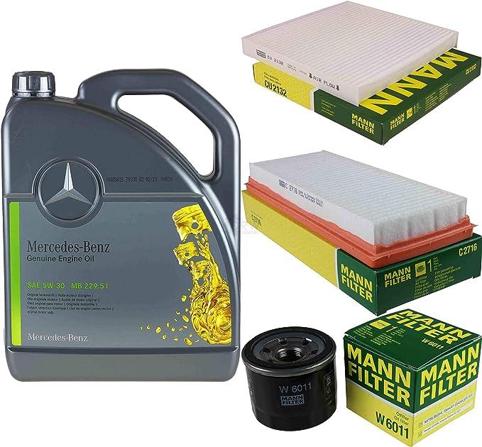 Filter Set Inspektionspaket 5 Liter Original Motoröl 5w 30 Mb 229 51 Mann Filter Innenraumfilter Luftfilter Ölfilter Auto