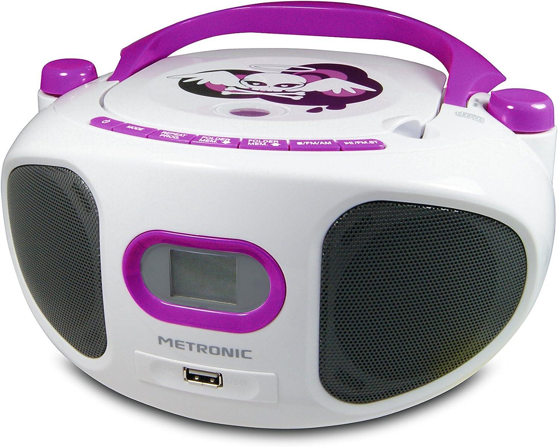 Metronic 477122 CD Radio Boombox Miss Angel Wei/ß//Lila
