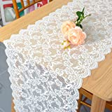 Pardecor Lace-Table-Runner 12x120-Inch White Lace Table Runner Reuseable Wedding Outdoor Home Dining Table Cloth Runners Flor