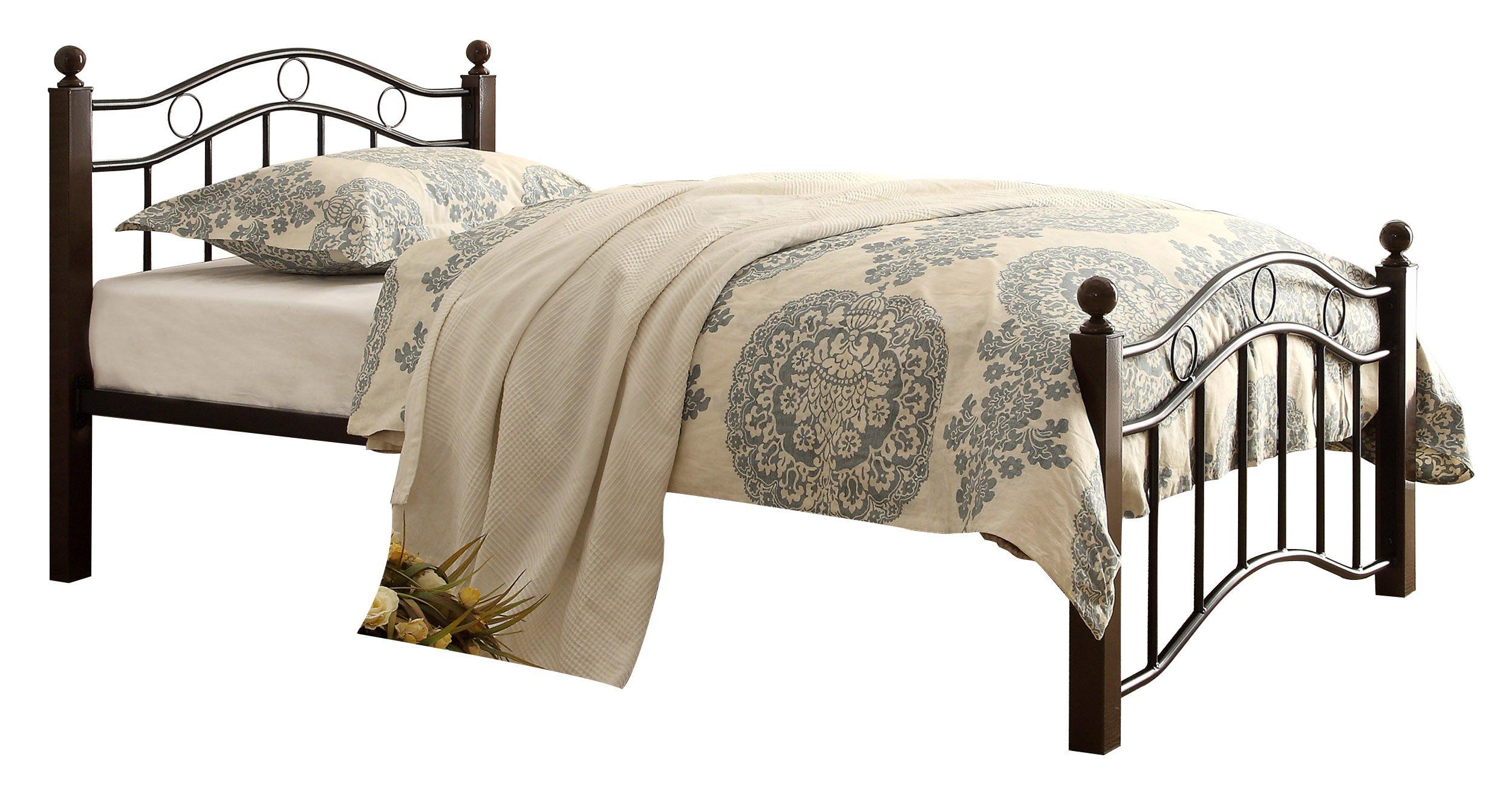 Homelegance 2020TBK-1 Metal Platform Bed, Twin, Black and Brown