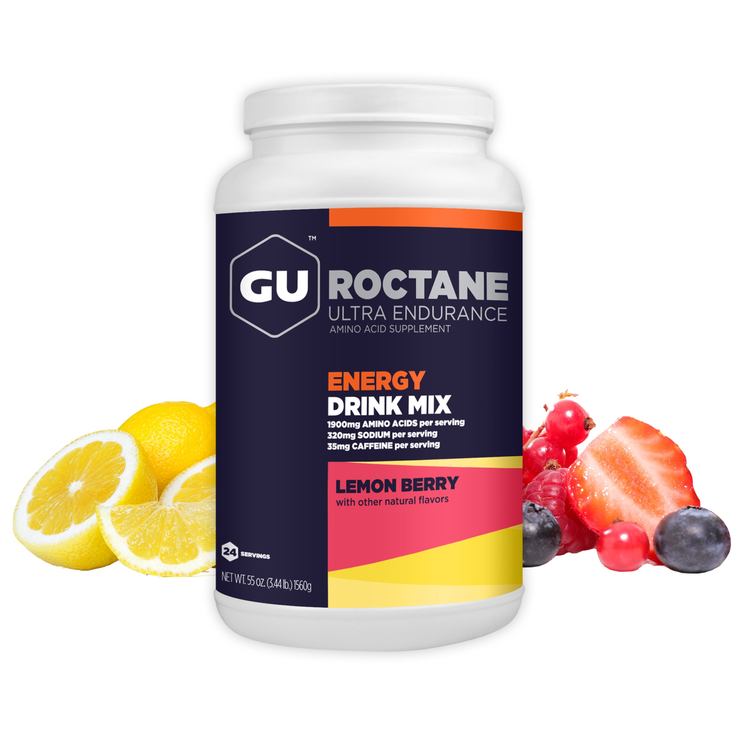 GU Energy Roctane Ultra Endurance Energy Drink Mix, Lemon Berry, 3.44-Pound Jar
