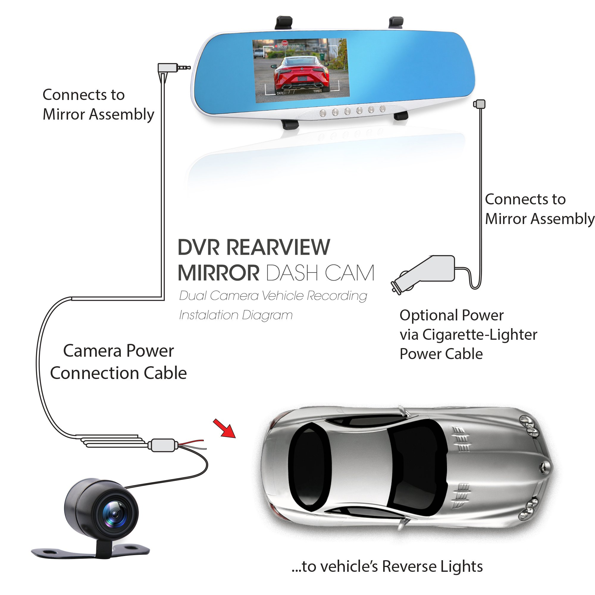 """Dash Cam Rearview Mirror Monitor - 4.3"""" DVR Rear View Dual Camera Video Recording System in Full HD 1080p w/Built in G-Sensor Motion Detect Parking Control Loop Record Support - Pyle PLCMDVR46 by Pyle (Image #5)"""