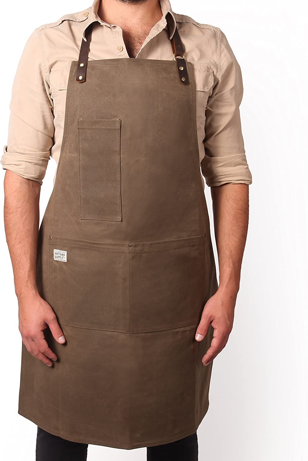 Brown Duck Canvas Men's Apron with Leather Straps Aprons Home ...