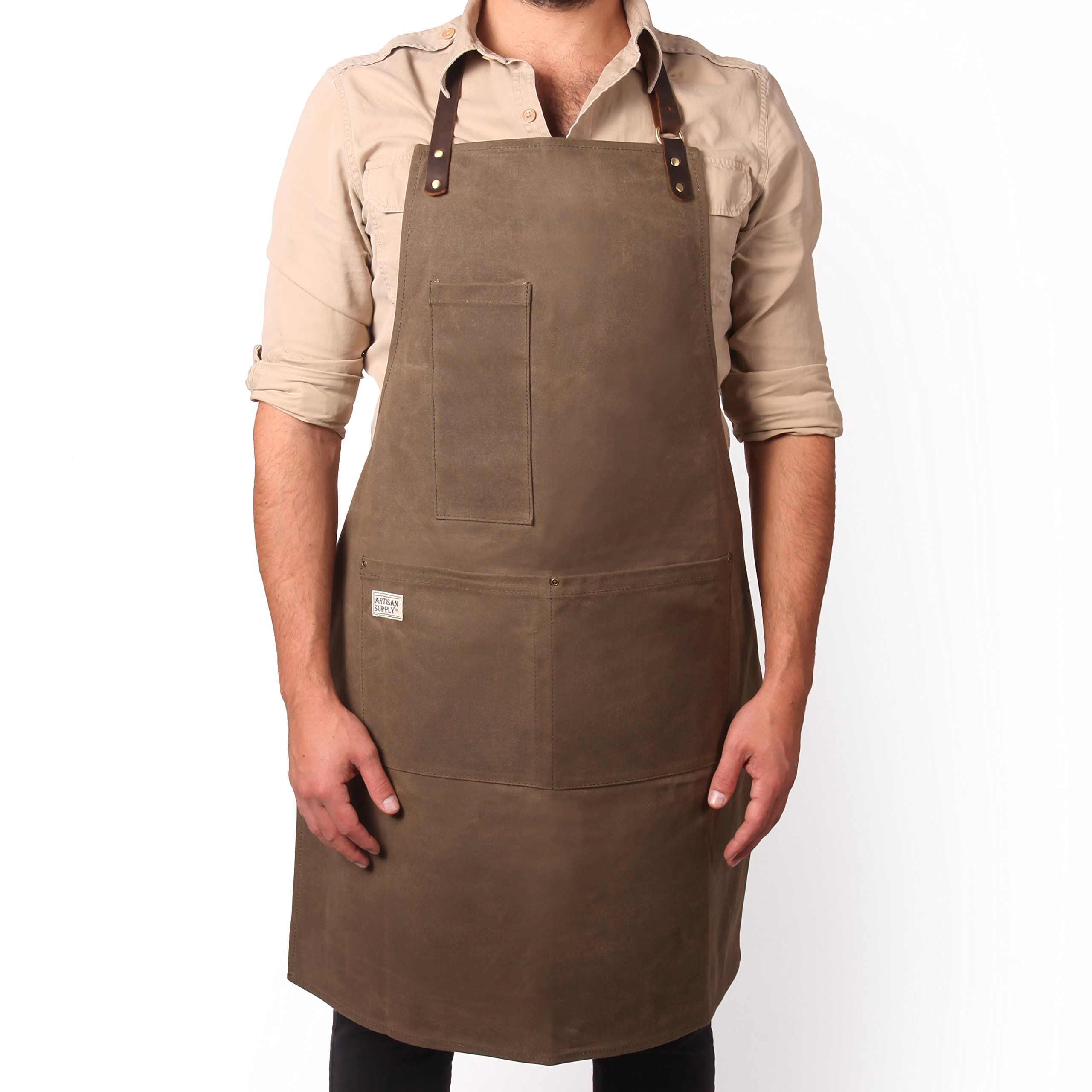 Vintage Inspired Craftsman Waxed Canvas Work Apron (LONG-BROWN) by Artisan Supply Co. - Made for BBQ Grill Masters, Butchers, Bakers, Chefs, Machinist and More by Artisan Supply