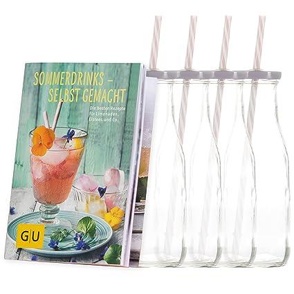 LEVIVO 20020000132 – Juego de 4 Unidades Botella con Pajita y Exclusivo GU Booklet sommerdrinks –