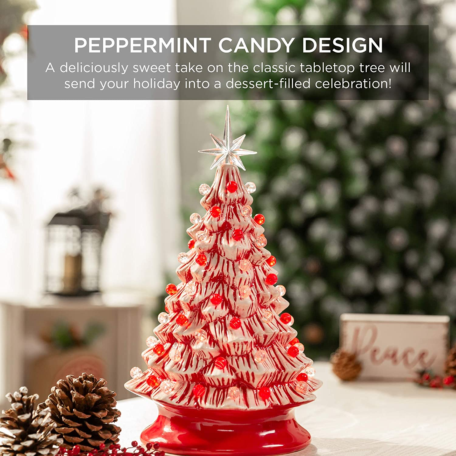 #5132 10 Miniature Peppermint Candy Cane Ornament Christmas Feather Tree Decor Craft Supply Lot