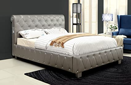 acrylic bedroom furniture. Furniture Of America Chloe Acrylic Tufted Leatherette Platform Bed With  Bluetooth Speakers, Full, Silver Acrylic Bedroom Furniture U