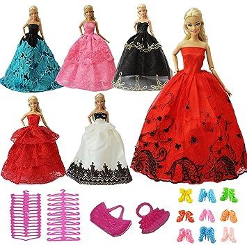 ZITA ELEMENT Vestidos Barbies 15 Piezas Ropa y Accesorios - 5 Vestidos Encaje Aleatorio +5