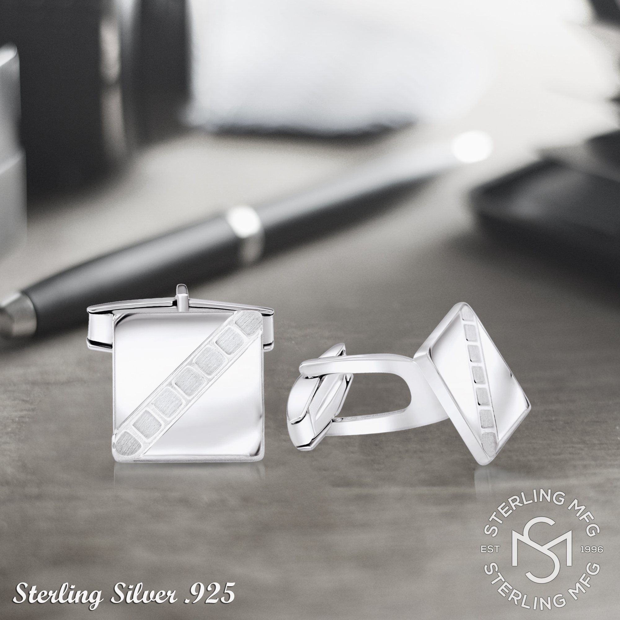 Sterling Manufacturers Men's Sterling Silver .925 Square Cufflinks with Satin Finish Check Accents, Engravable, 14mm. By by Sterling Manufacturers (Image #7)