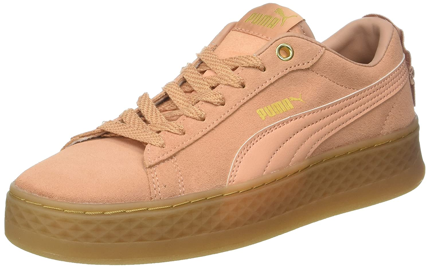 Puma Womens Smash Platform Frill Low-Top Sneakers, Dusty Coral-Dusty Coral- Puma Team Gold, 7.5 UK