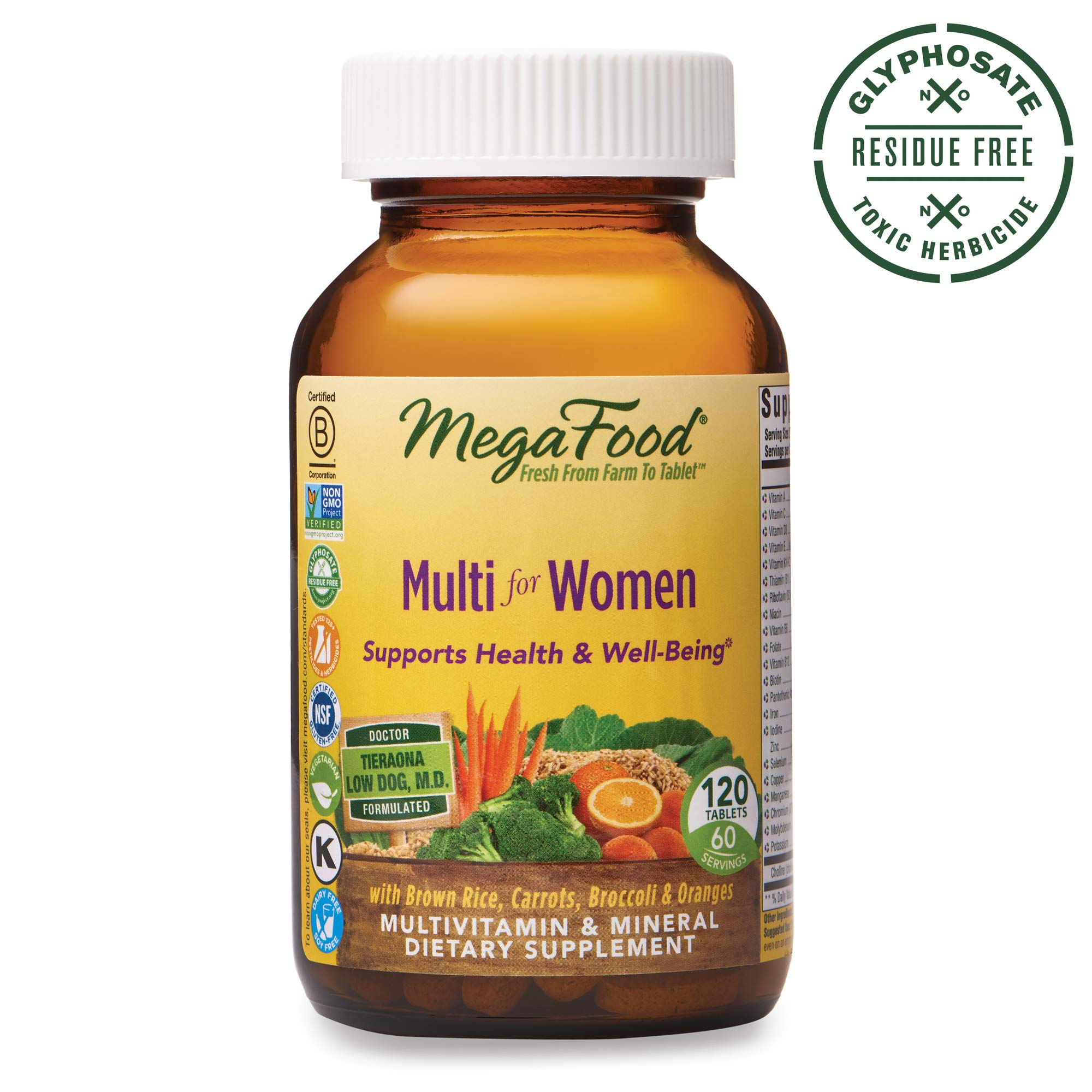 MegaFood, Multi for Women, Supports Optimal Health and Wellbeing, Multivitamin and Mineral Dietary Supplement, Gluten Free, Vegetarian, 120 tablets (60 servings) by MegaFood