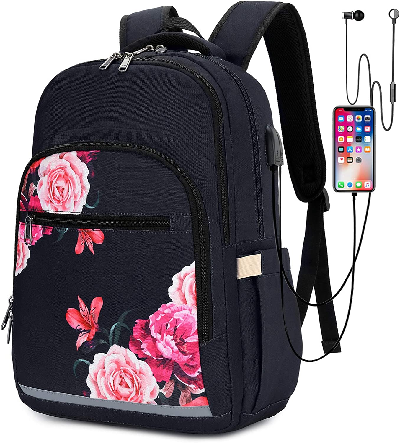 Backpack for Women Men 15 Inch Laptop Bookbag College School Bag with USB Port