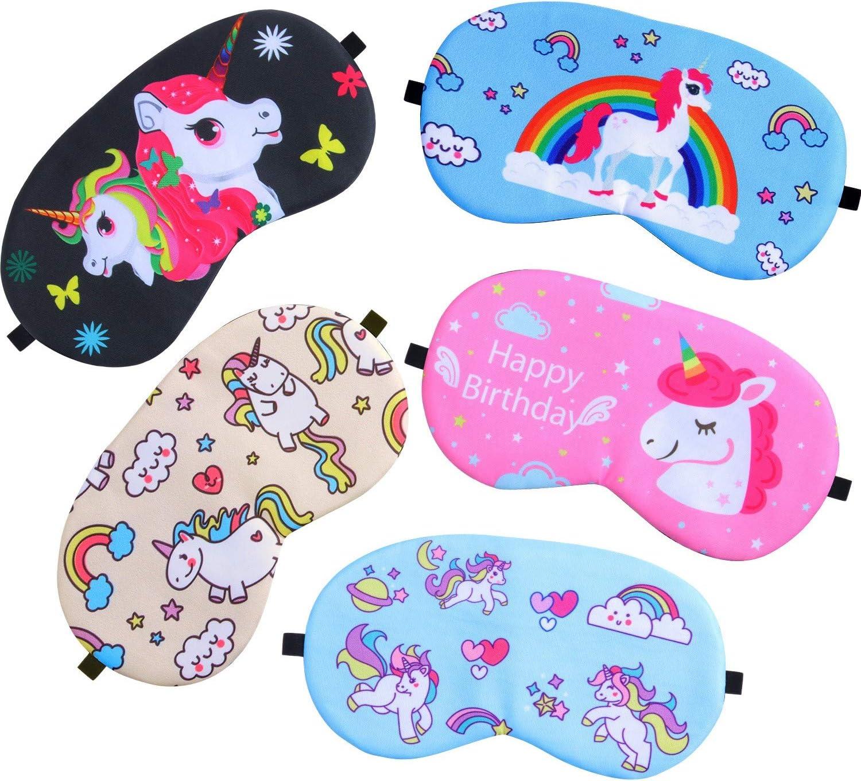 Gejoy 5 Pieces Unicorn Sleeping Mask Blindfold Sleep Mask Eye Mask Cover for Men Women Kids
