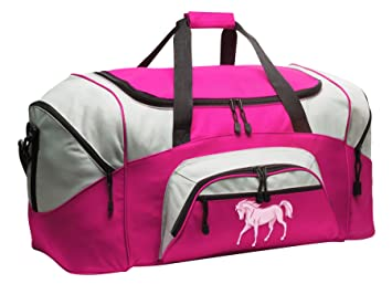 5ce7cac232ec Image Unavailable. Image not available for. Color  LARGE Horse Duffel Bag  Ladies Horse Theme Suitcase Duffle ...