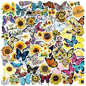 Cute VSCO Stickers for Water Bottles (100Pack) Aesthetic Vinyl Stickers for Teen Girls,Laptop,Travel, Photo Sharing, Outdoor - Cute, Trendy (Sunflower and Butterfly)