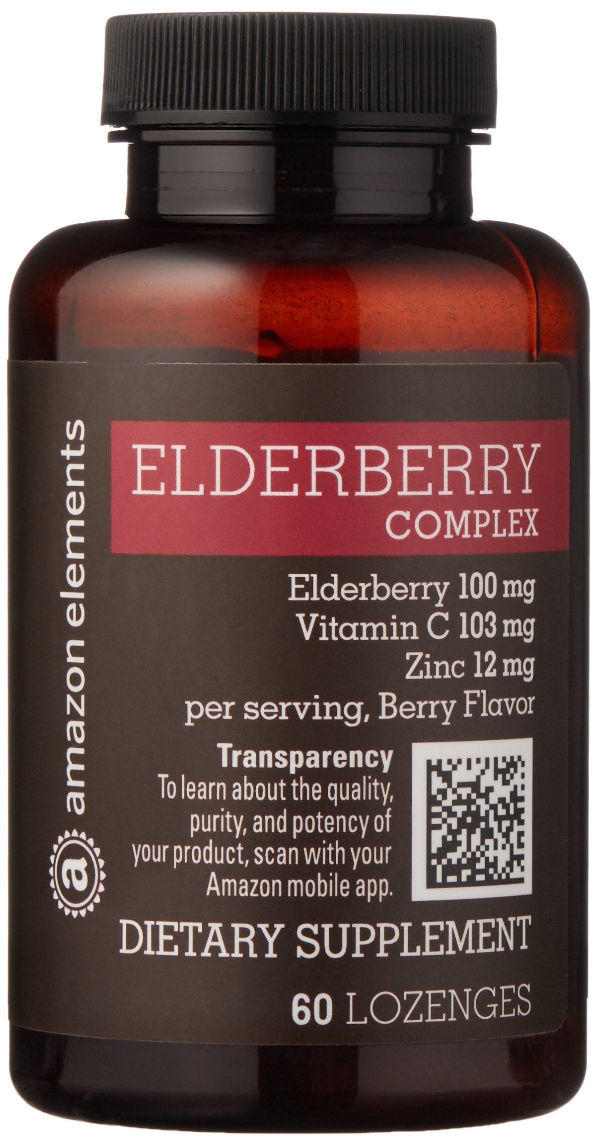 Amazon Elements Elderberry Complex, 60 Berry Flavored Lozenges, Elderberry 100mg, Vitamin C 103mg, Zinc 12mg, up to a 2 month supply