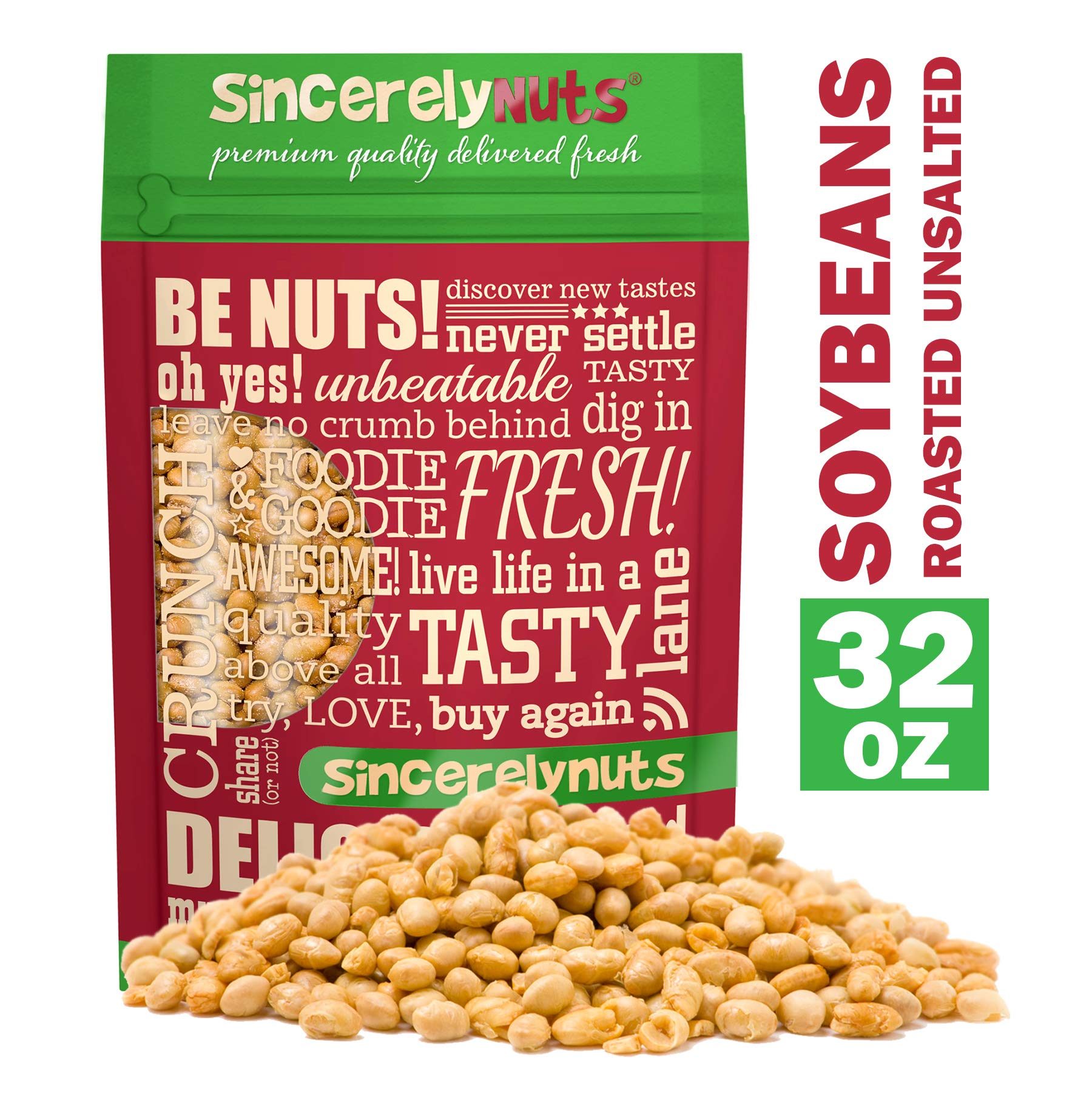 Sincerely Nuts Roasted Soybeans Unsalted (2 LB) Gluten-Free - Vegan & Kosher-Powerful Vegetarian Protein Source by Sincerely Nuts