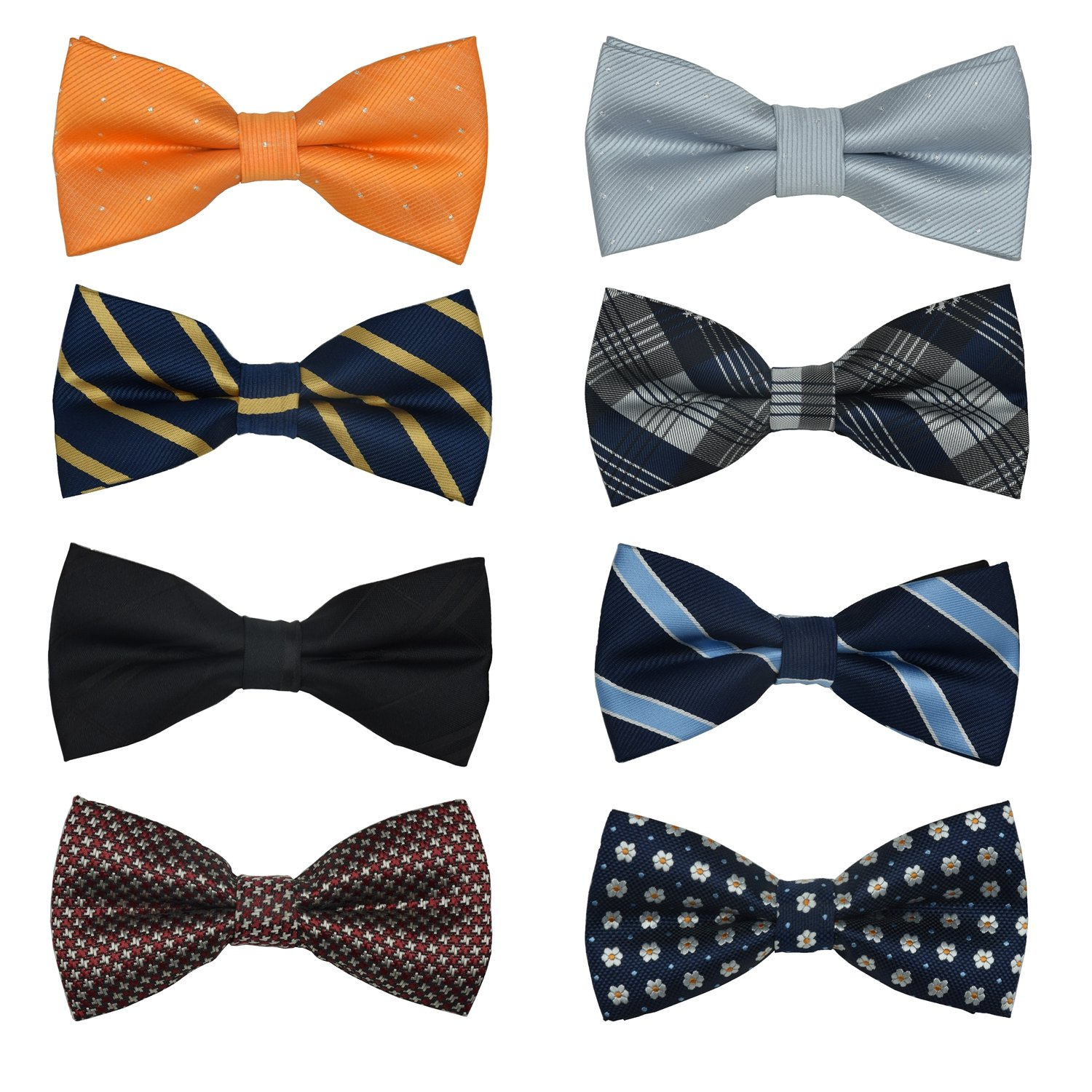 Men's Bow Ties Adjustable Pre-tied bowties for Boys Man 8 Packs in Gift Box