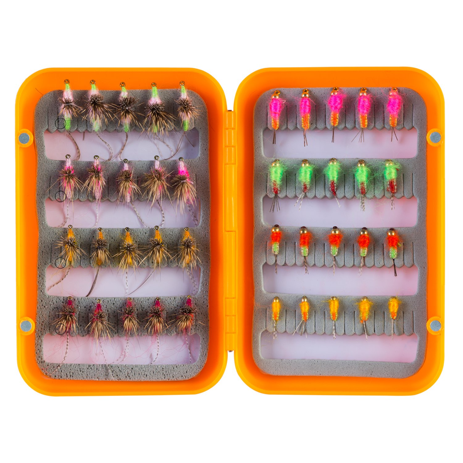 Piscifun 40pcs Wet Flies Fly Fishing Lures Bass Salmon Trouts Sinking Flies Assortment with Fly Box 10#,12#,14#,16# Hook
