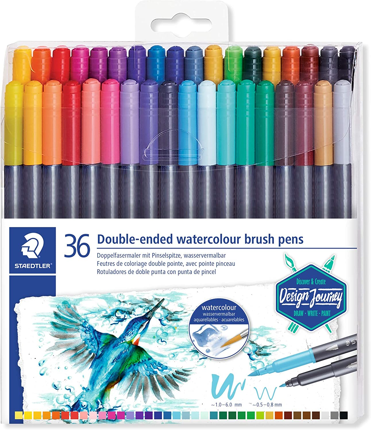 Staedtler Watercolour Brush Pens 3001 TB36, Rotulador de Doble Punta de Fibra Acuarelable, 36 unidades, Multicolor: Amazon.es: Hogar
