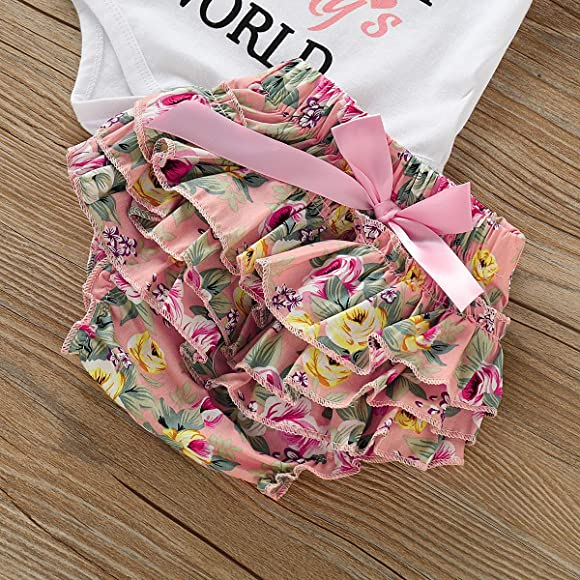 Toddler Baby Girls Clothes 2Pcs Flower Ruffle T-Shirt+ Ripped Jeans Denim Pants Outfits Sets White-top(12-18Months)