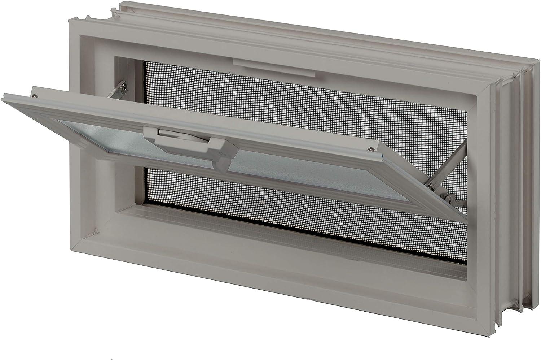 FUCHS L/üftungsfenster Beige anstatt 2 Glassteine im Format 19x19x8 cm mit Fliegengitter