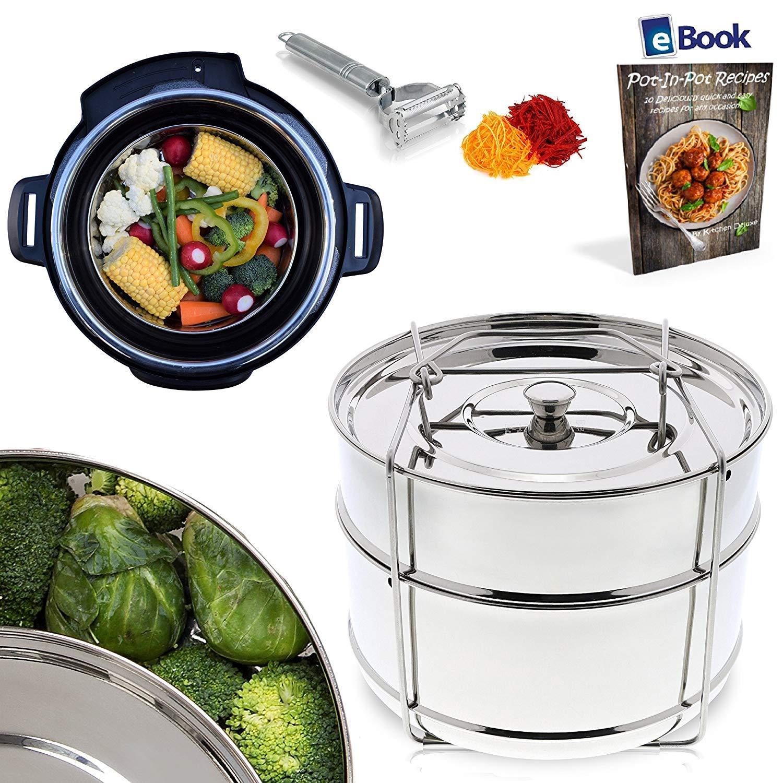 PREMIUM Steamer Insert Pans - STACKABLE 2-Tier - BEST Bundle - Fits Instant Pot Pressure Cooker 6 Qt & 8 Quart - 100% Stainless Steel - BONUS Accessories - Vegetable Peeler + eBook | For Instapot