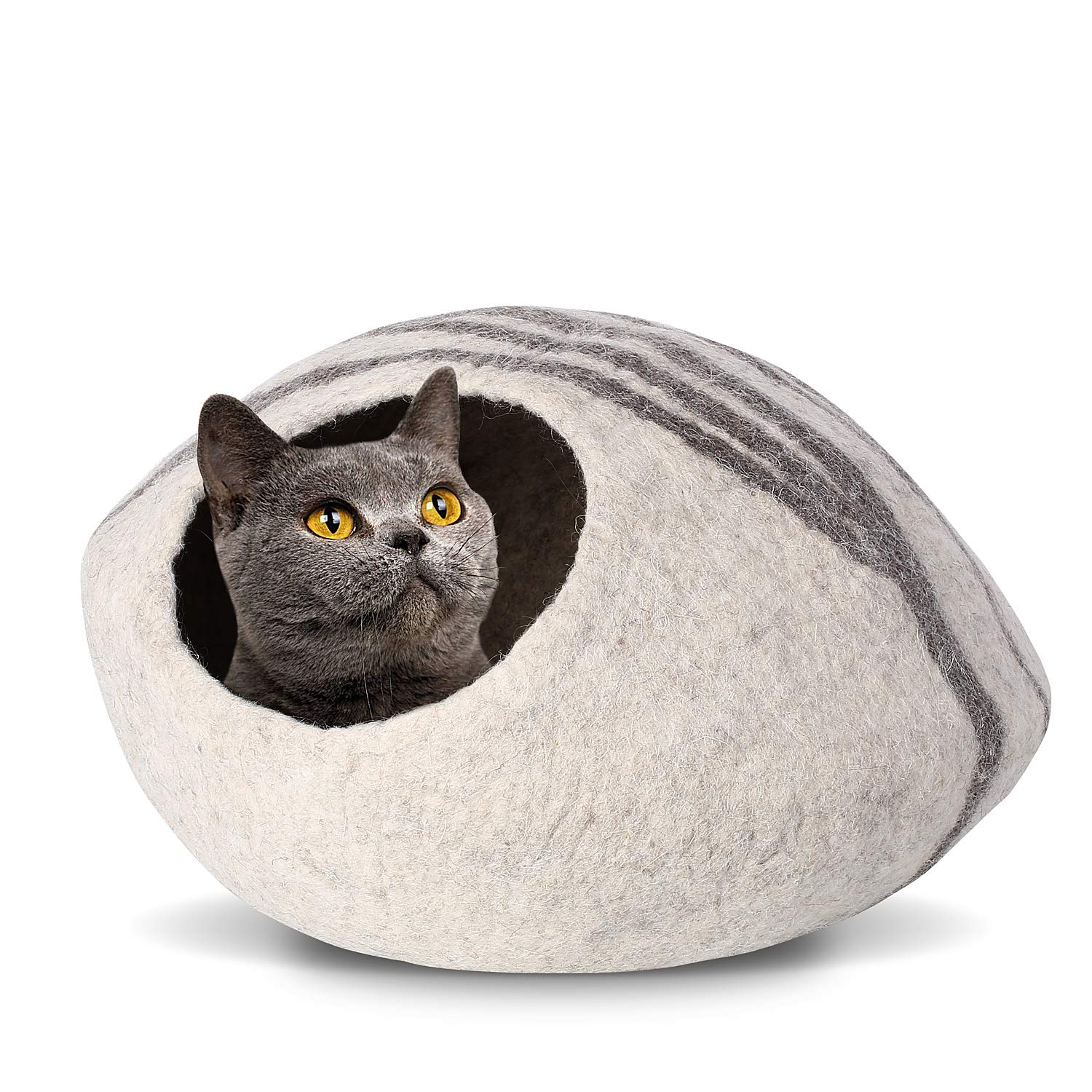 Pedy 19'' Cat Cave Bed Large, Premium Handmade Natural Wool Self Warming Cat Cubby Enclosed for Cats and Kittens by Pedy