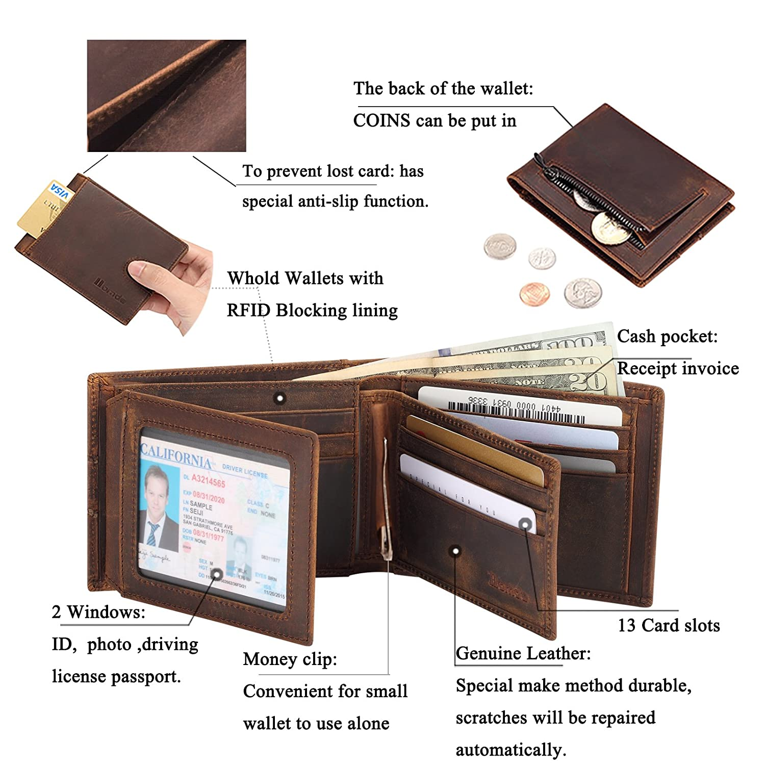 Homde 2 IN 1 Wallet Set Genuine Leather Slim Front Pocket with ID Window  and RFID Blocking for man wallets