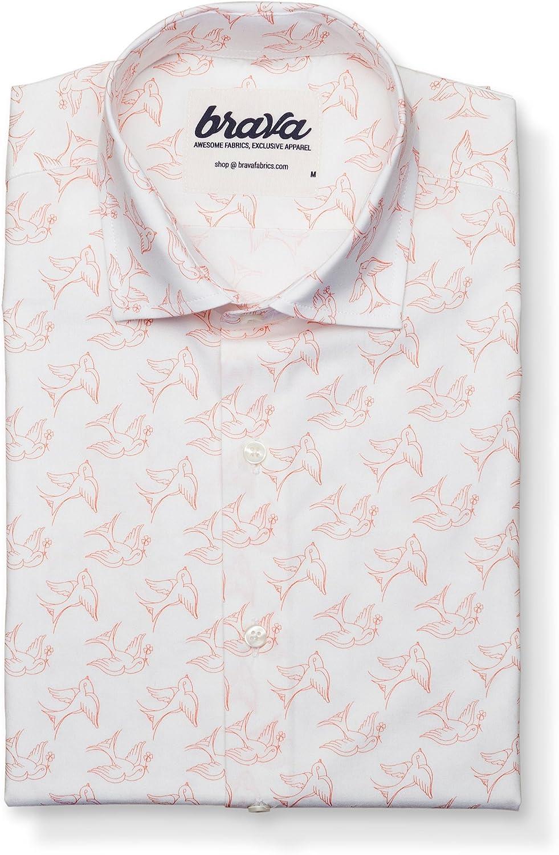 Brava Fabrics - Camisa Hombre Manga Larga Estampada - Camisa Blanca para Hombre - Camisa Casual Regular Fit - 100% Algodón - Modelo Sailor Bird: Amazon.es: Ropa y accesorios