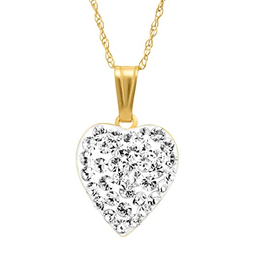 Amazon crystaluxe puffed heart pendant necklace with crystaluxe puffed heart pendant necklace with swarovski crystals in 14k gold mozeypictures Choice Image