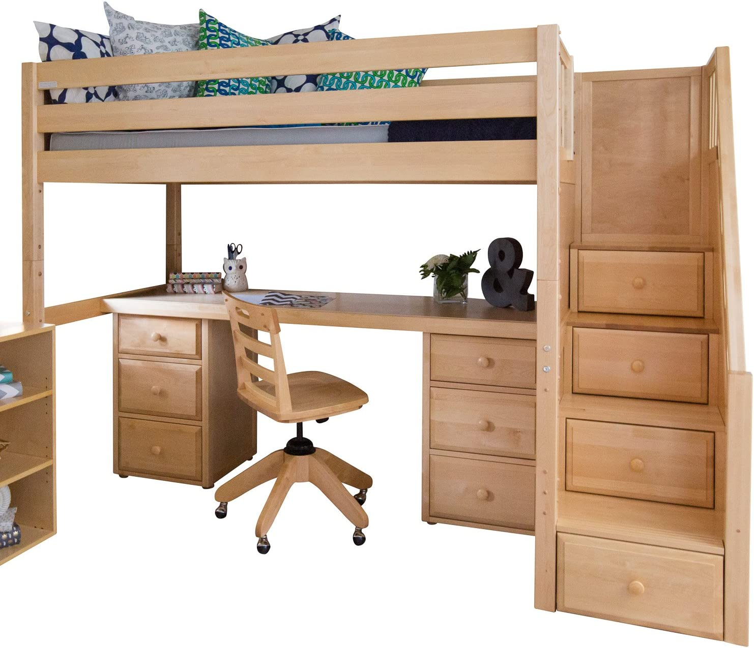 Maxtrix Solid Hardwood Twin Size Low Loft Bed With Storage Staircase Entry Integrated Desk And 2x 3 1 2 Drawer Dresser Natural Furniture Decor