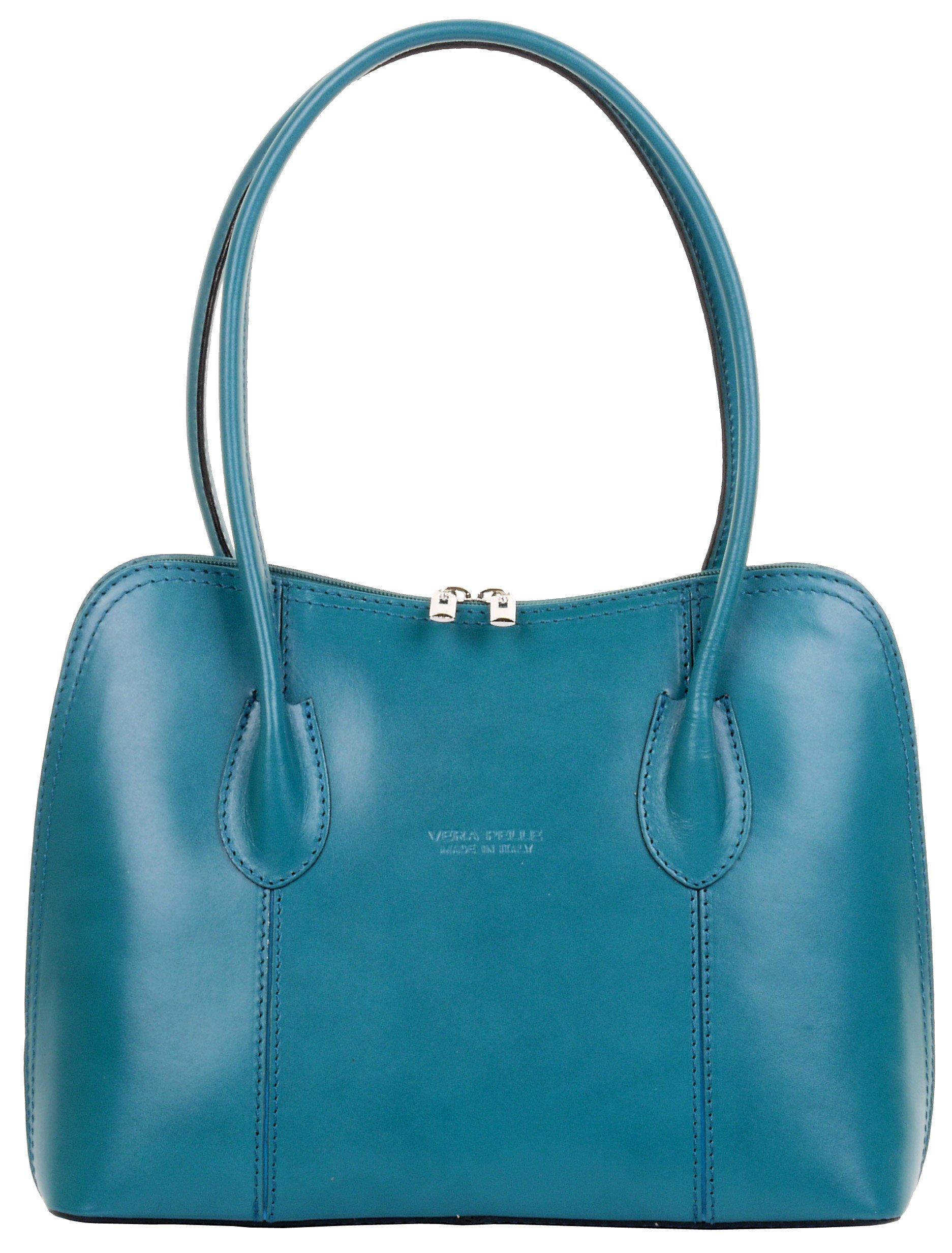 Primo Sacchi Italian Smooth Leather Teal Classic Long Handled Handbag Tote Grab Bag Shoulder Bag