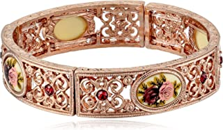 product image for 1928 Jewelry Victorian Inspired Floral Manor House Rose Gold-Tone Bracelet