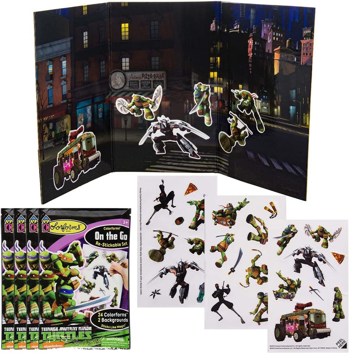 Colorforms (4 Pack 26-Piece Sets Magic On The Go TMNT Restickable Stickers for Kids Boys & Girls