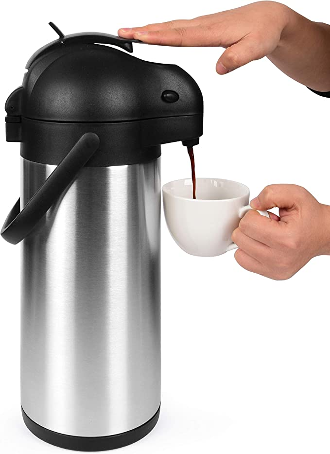 Amazon.com: Cresimo 101 Oz (3L) Airpot Thermal Coffee Carafe and Coffee Server/Lever Action/Stainless Steel Insulated Flask / 12 Hour Heat Retention / 24 Hour Cold Retention (Airpot): Kitchen & Dining