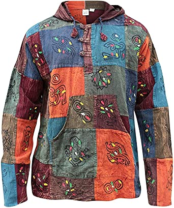 Patchwork Stonewash Hooded Long Sleeve Grandad Shirt Hippy Festival Nepal S-3XL