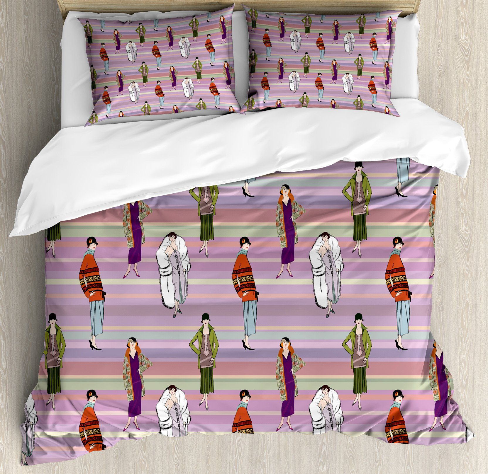 Lunarable Colorful King Size Duvet Cover Set, Flapper Girls Pattern with Retro Design Inspired Background Twenties Fashion Theme, Decorative 3 Piece Bedding Set with 2 Pillow Shams, Multicolor