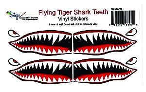 "Flying Tigers shark teeth decals 1"" t x 2.5""w x 2 SET"