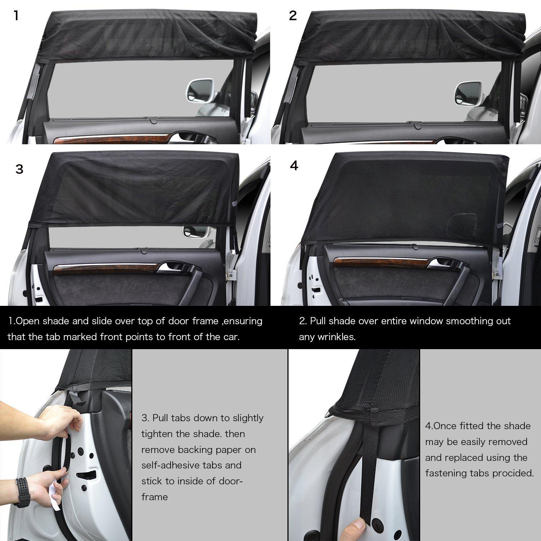 PULNDA Parasoles Coche ventana lateral  protecci/ón contra rayos UV para ni/ños,beb/és y Mascotas,F/ácil instalaci/ón Pack de 2 unidades 49.2*21