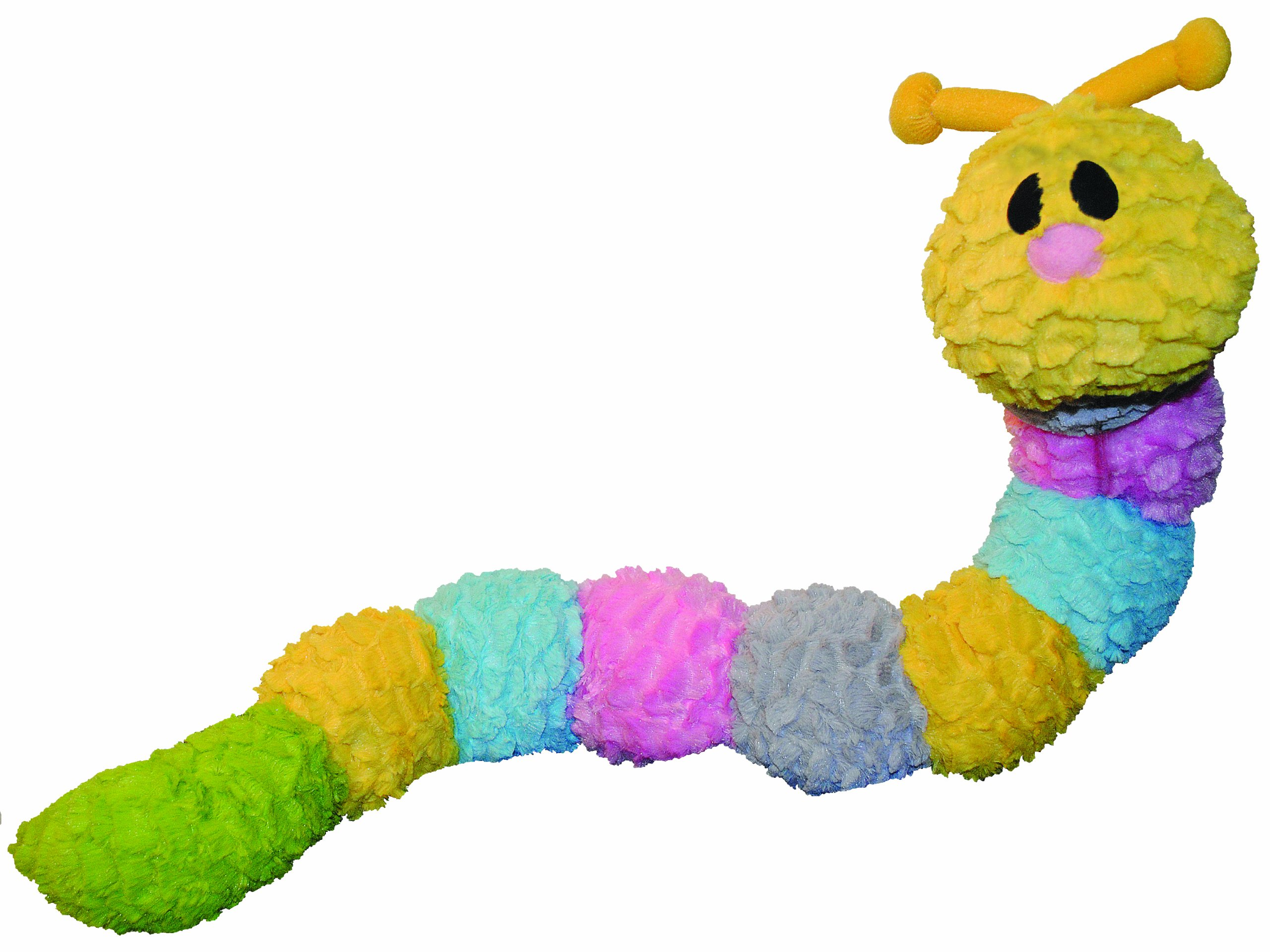 Patchwork Pet Pastel Caterpillar 35-Inch Squeak Toy for Dogs