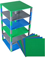 """Classic Baseplates 10"""" x 10"""" Brik Tower by Strictly Briks   100% Compatible with All Major Brands   Building Bricks for Towers, Shelves and More   6 Baseplates & 50 Stackers in Blue Green & Gray"""