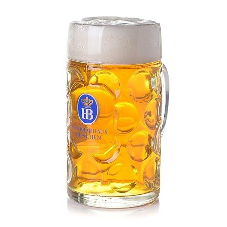 amazon com 1 liter hb hofbrauhaus munchen dimpled glass beer