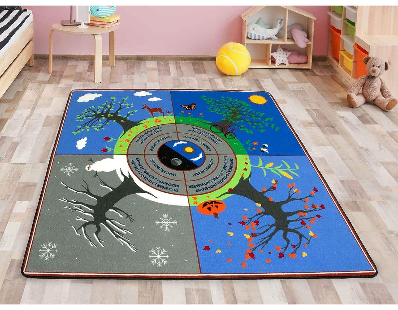 Primaflor - Ideen in Textil Lernteppich Kinderteppich Jahreszeiten 2m x 2m Schadstofffrei, Fußbodenheizung geeignet, Qualitätsteppich Spielteppich für Kinder, Jahreszeiten Lernen